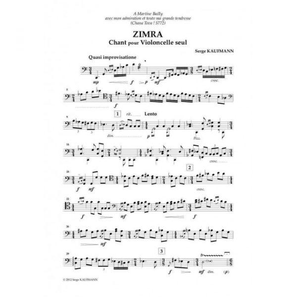 Serge Kaufman - Zimra, Chant pour violoncelle seul