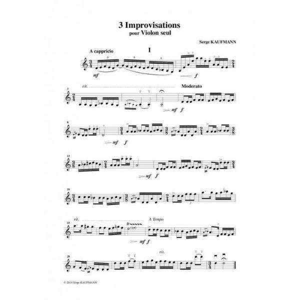 Serge Kaufman - Trois improvisations pour violon seul