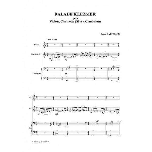 Serge Kaufman - Balade klezmer pour violon, clarinette et cymbalum