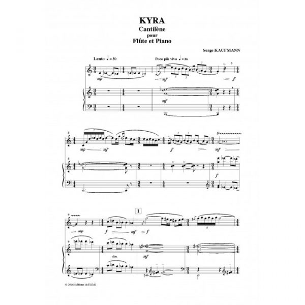 Serge Kaufmann - Kyra, cantilène pour flûte et piano