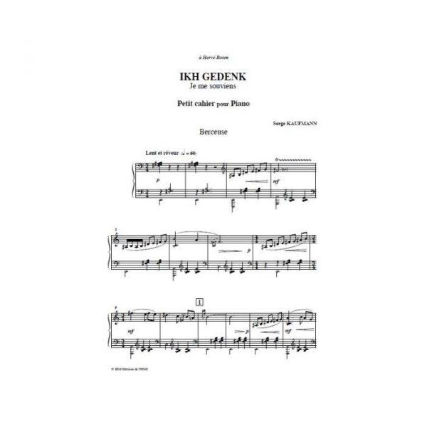 Serge Kaufmann - Ikh Gedenk - Je me souviens, Petit cahier pour piano - partition imprimée