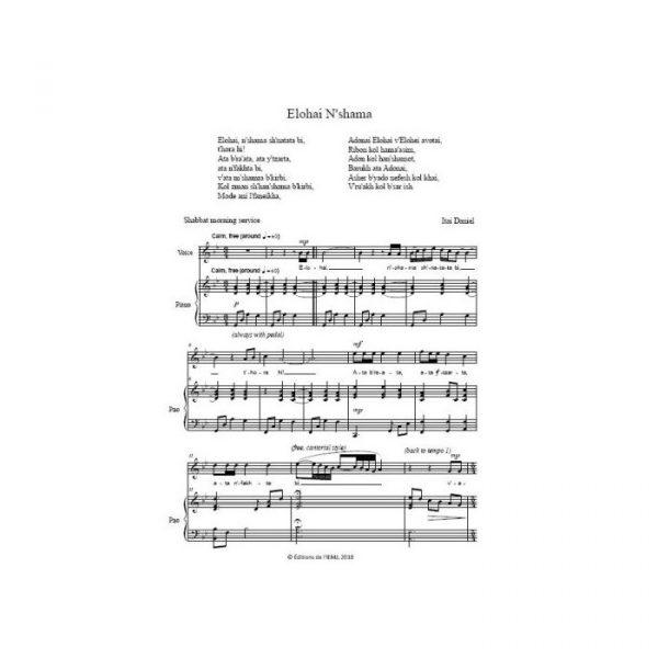 Itaï Daniel - Six mélodies de Shabbat pour voix et piano - partition imprimée