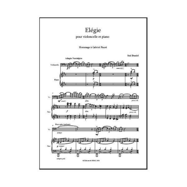 Daniel - Elégie pour violoncelle et piano - partition imprimée